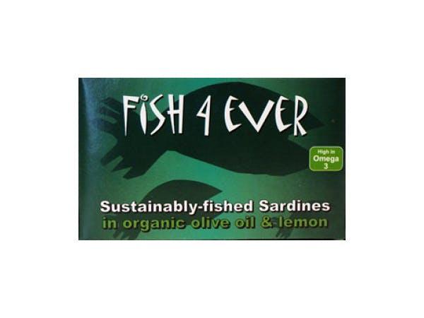 Fish 4 Ever  Whole Sardines In Organic Olive Oil & Lemon