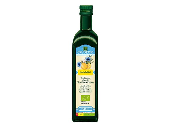 Crudigno  Cold Pressed Flax Seed Oil With Lemon
